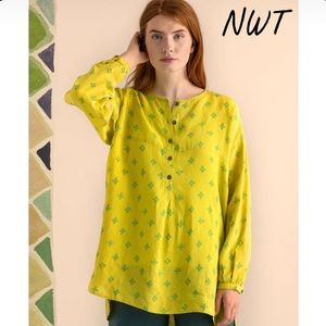 NWT SWEDISH GUDRUN SJODEN Yellow/Green Linen Tunic